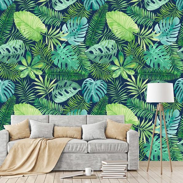 Behang met botanische bladeren