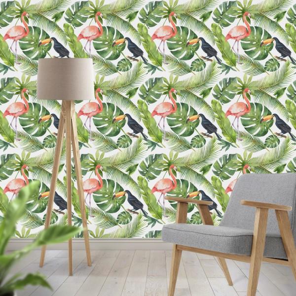 Behang met Flamingo en Tucan