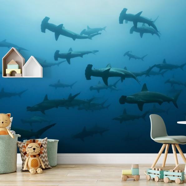 Behang met haaien
