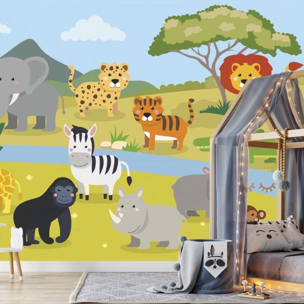 Behang met Afrikaanse dieren in kinderkamer