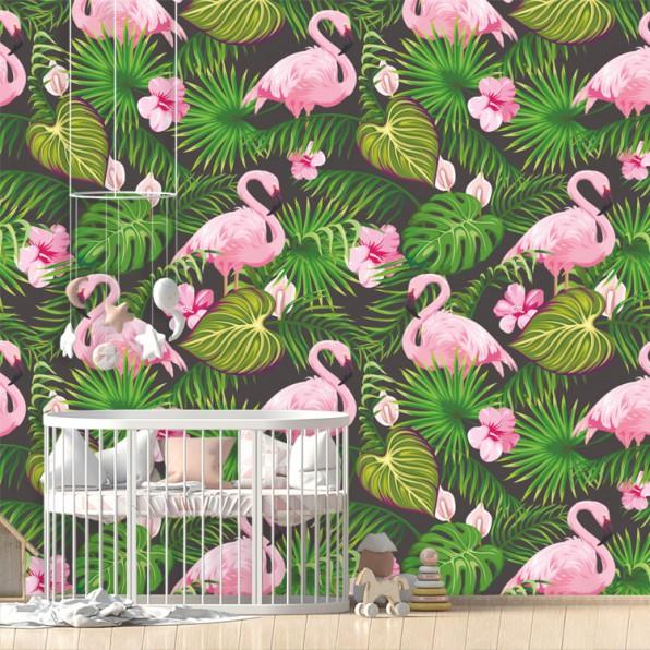 Behang met flamingo patroon