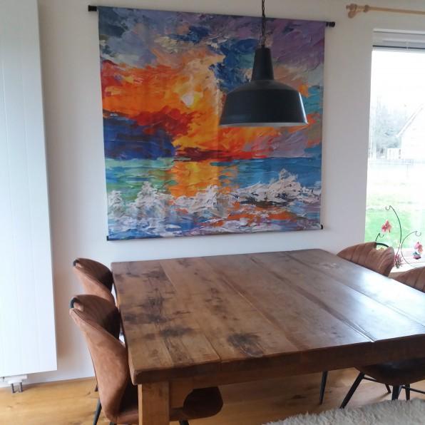 Wandkleed met abstract schilderij