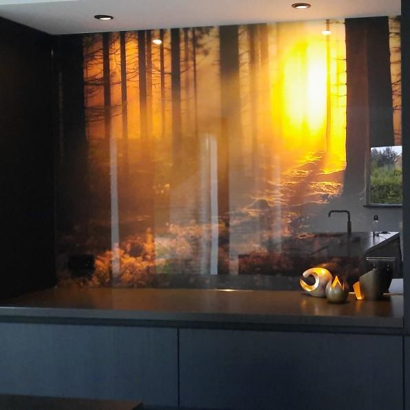 Keuken spatwand met bos