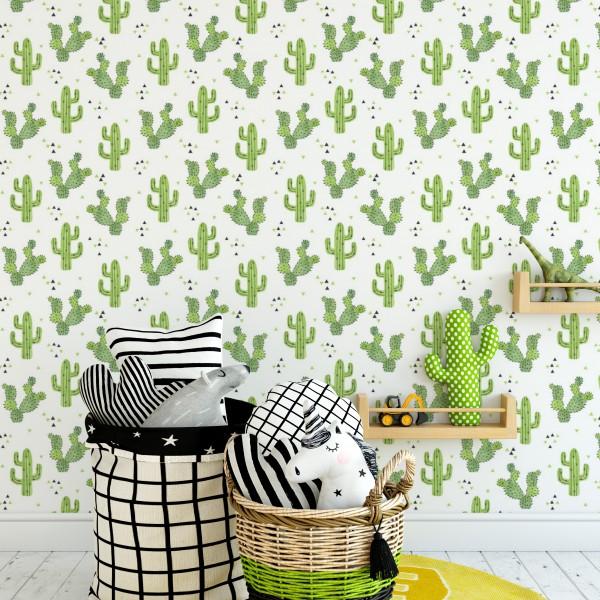 Behang met cactussen