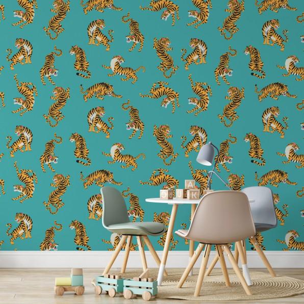 Behang met tijger patroon