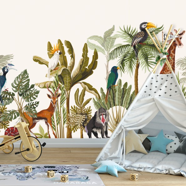 Behang met jungle patroon