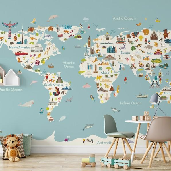 Speelse wereldkaart met dieren