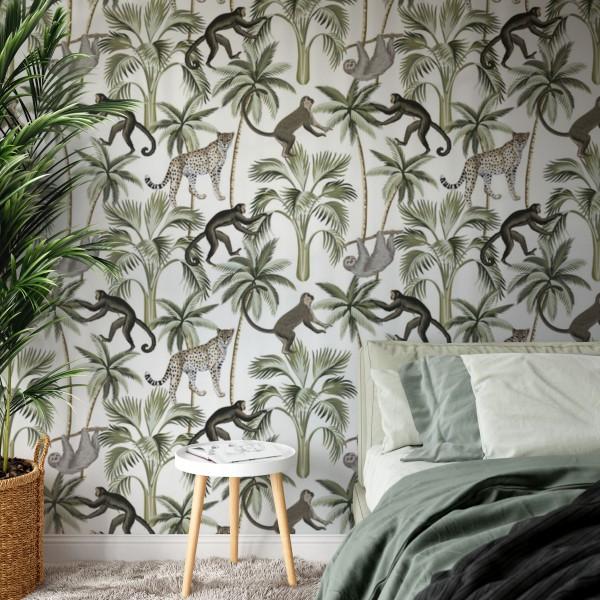 Behang met tropisch patroon