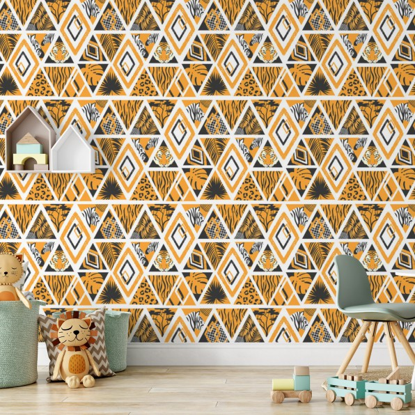 Behang met Afrikaans patroon