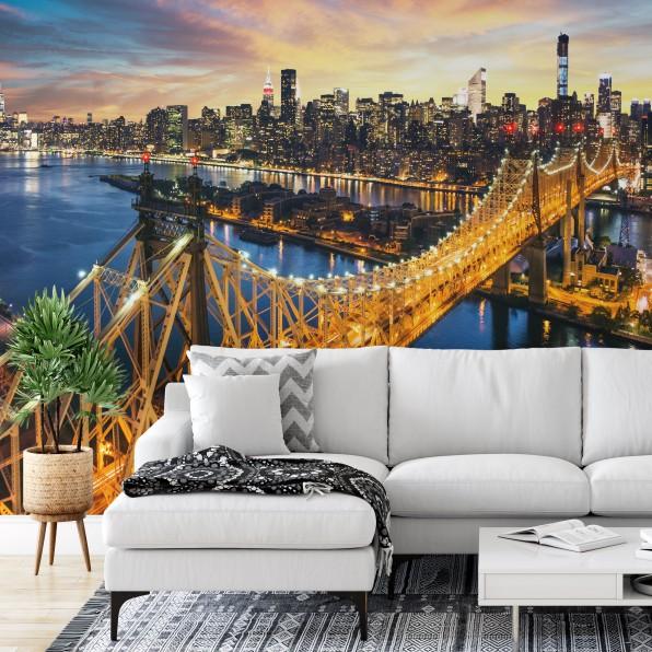Behang met avondfoto van New York