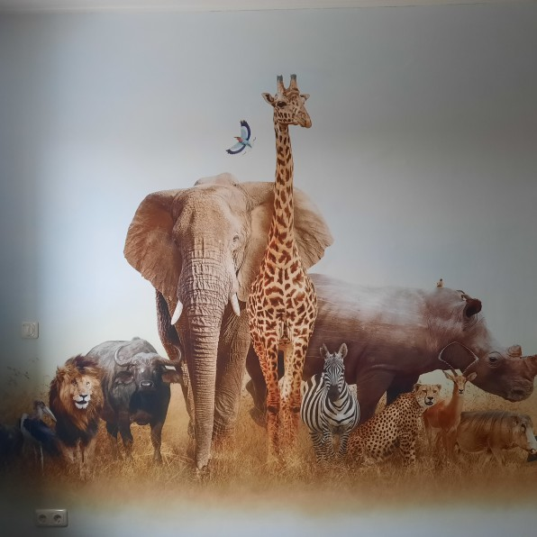 Naadloos behang met Afrikaanse dieren