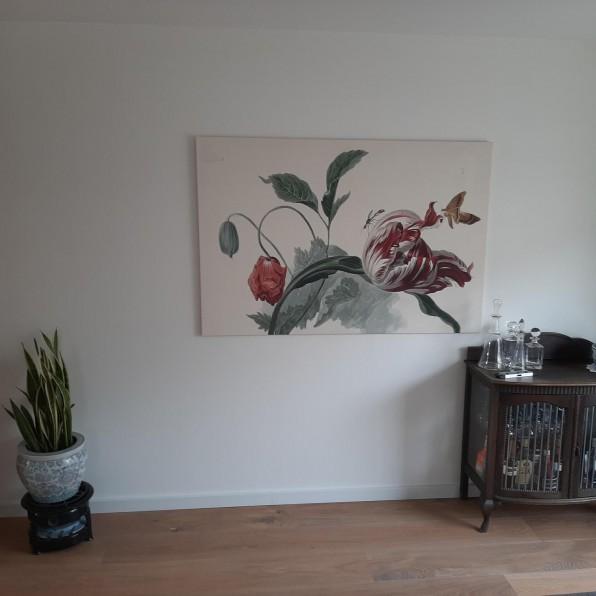 Canvas met Tulp en een papaver, Willem van Leen
