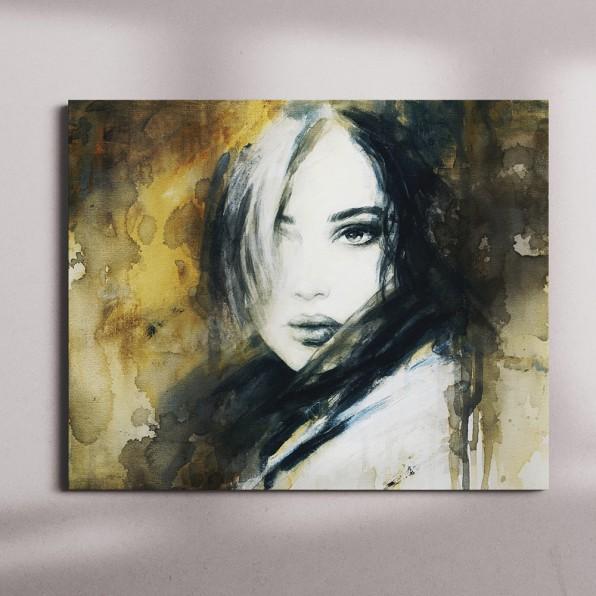 Canvas met illustratie vrouw