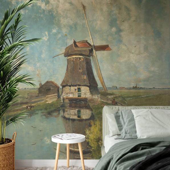 Behang met een molen aan een poldervaart