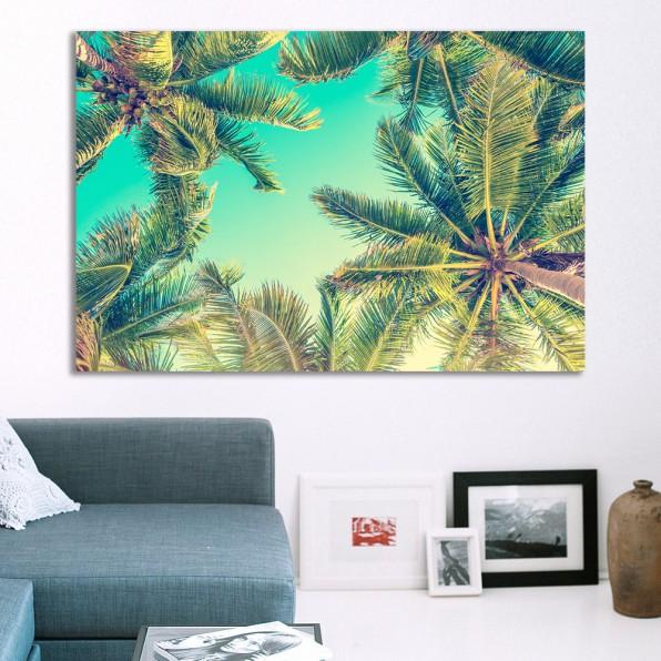 Aluminium print met palmbomen