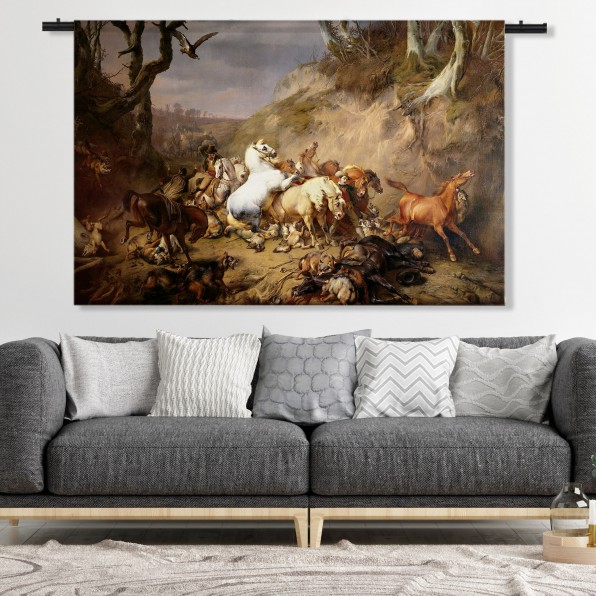 Wandkleed met hongerige wolven overvallen een groep ruiters, Eugène Verboeckhoven, 1836