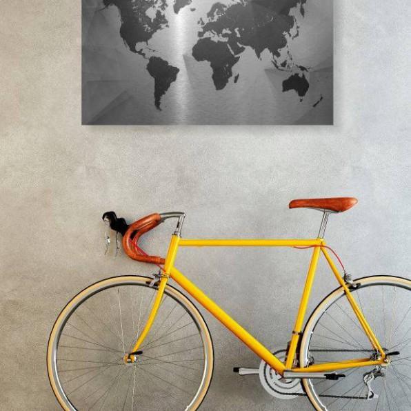 Creatieve wereldkaart op Brushed Aluminium