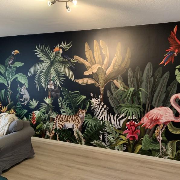 Behang met jungle illustratie