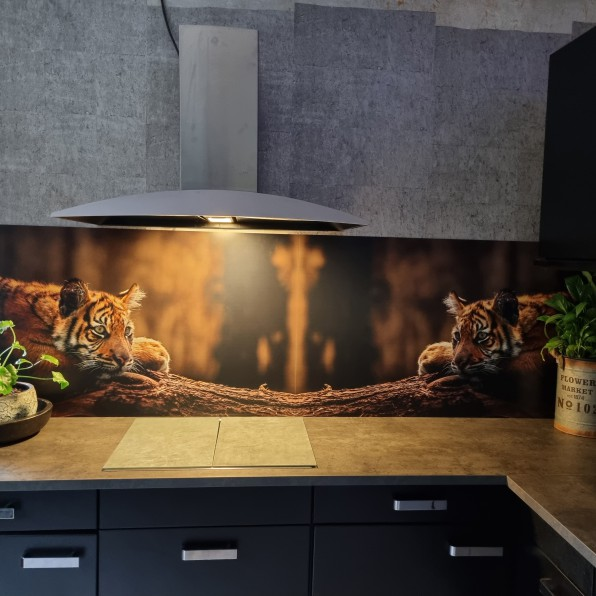 Keuken spatwand met tijgers