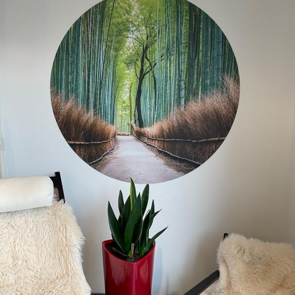 Muurcirkel aluminium met bamboe