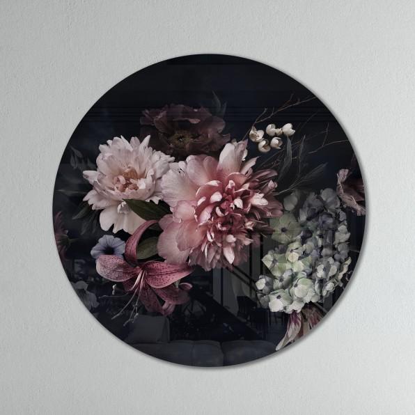 Muurcirkel met vintage bloemen