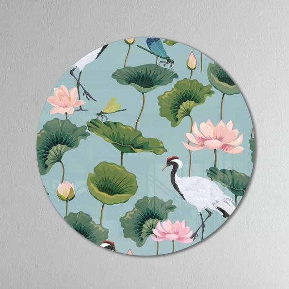 Muurcirkel met patroon met Japanse kraanvogels