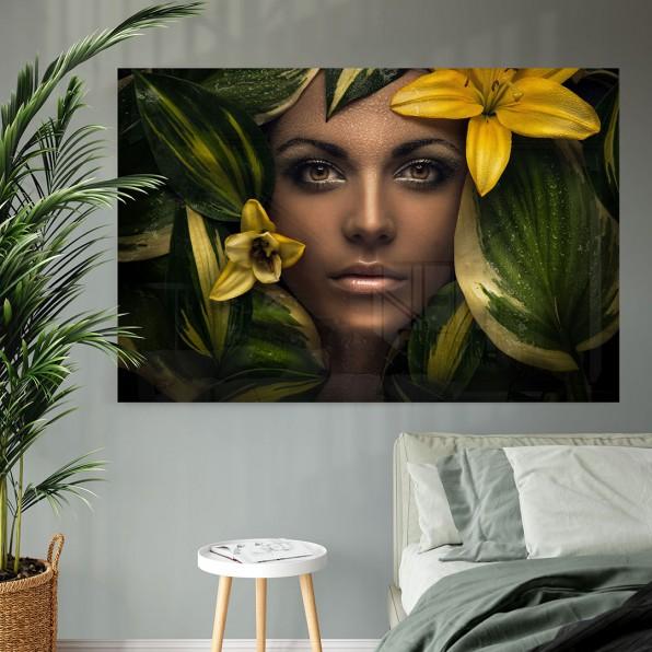 Plexiglas met portret van vrouw
