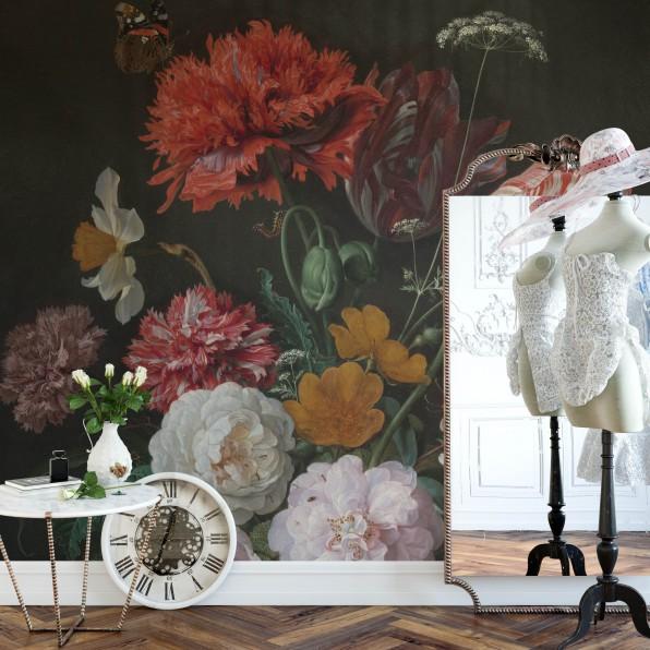 Behang met stilleven met bloemen in een glazen vaas