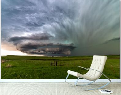 Supercell thunderstorm with dramatic clouds near Ryegate, Montana.