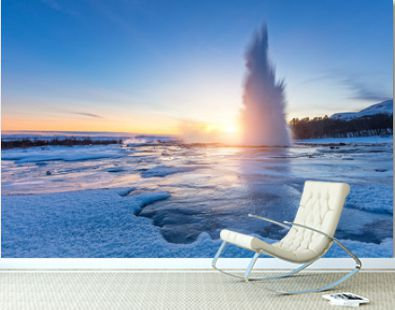 Famous Geysir in Iceland in beautiful sunset light