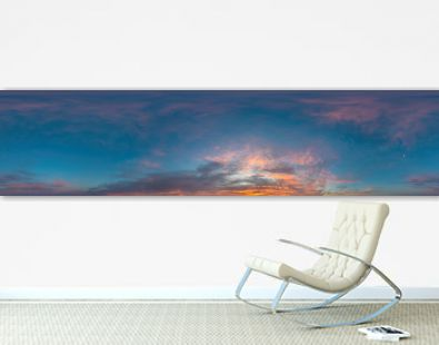 Sky panorama on sunrise with Stratocumulus clouds in Seamless spherical equirectangular format as full zenith for use in 3D graphics, game and in aerial drone 360 degree panoramas for sky replacement