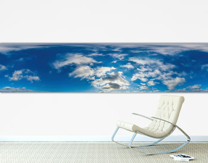 Blue sky panorama with Cirrus clouds in Seamless spherical equirectangular format. Full zenith for use in 3D graphics, game and editing aerial drone 360 degree panoramas for sky replacement.