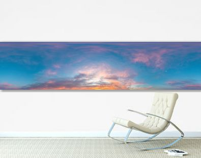 Sky panorama on sunset with Stratocumulus clouds in Seamless spherical equirectangular format as full zenith for use in 3D graphics, game and in aerial drone 360 degree panoramas for sky replacement
