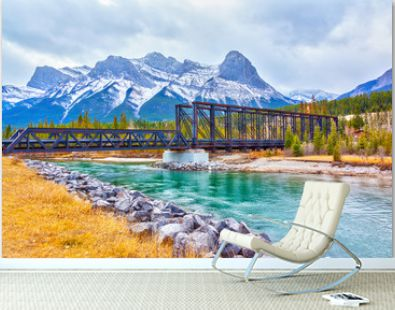 Canmore Engine Bridge Spur Line Trail Over Bow River in the Canadian Rockies