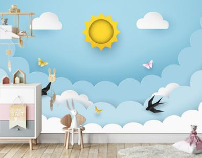 Sun, clouds, flying birds and butterflies on the clear blue sky background. Cloudy scenery background. Paper and craft style. Origami swallows. Cartoon background for children. Vector Illustration.