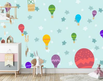 Kids room wallpaper with graphic illustration air balloon fly together. Can use for print on the wall, pillows, decoration kids interior, baby wear, shirts, and greeting card