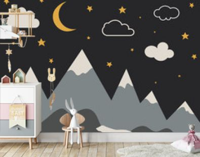 Night mountain landscape with new moon and stars. Baby room wallpaper