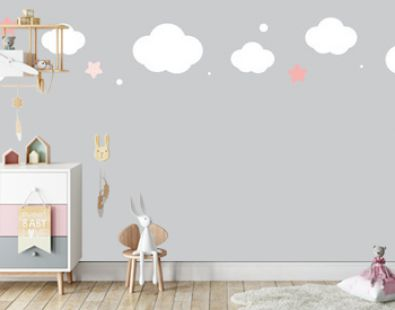cute cloud and stars on pastel grey upper border seamless pattern.