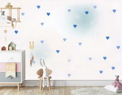 wall paper design with white background and small blue hearts for baby shower or fathers day