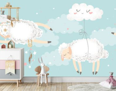 Vector horizontal seamless pattern with cute hand drawn cartoon sheeps, clouds, stars isolated on blue background. Design for print, fabric, wallpaper, card, baby room decoration, banner