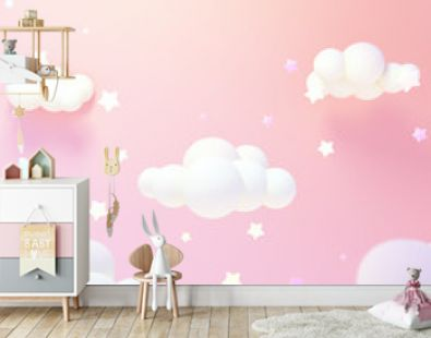 Cartoon pastel pink clouds and yellow stars at night. 3d rendering picture.
