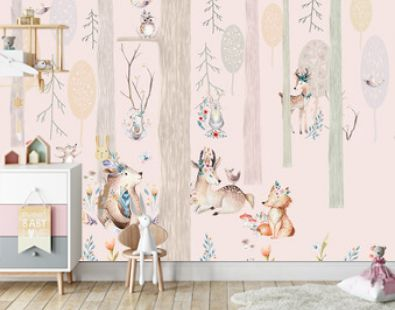 Wallpaper for children, magical forest with animals