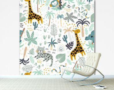 Seamless jungle pattern with cute hand drawn animals and tropical elements. Creative kids design for fabric, wrapping, textile, wallpaper, apparel. Vector illustration