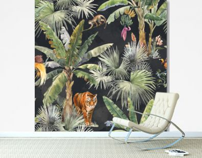 Beautiful seamless pattern with watercolor tropical palms and jungle animal tiger. Stock illustration.