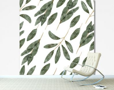 watercolor botanical green leaf seamless pattern