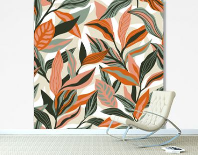 Tropical leaves hand drawn seamless pattern. Botanical trendy design in orange and green colors. Vector repeating design for fabric, wallpaper or wrap papers.