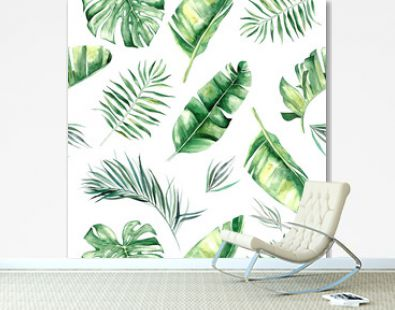 Watercolor tropical leaves seamless pattern illustration