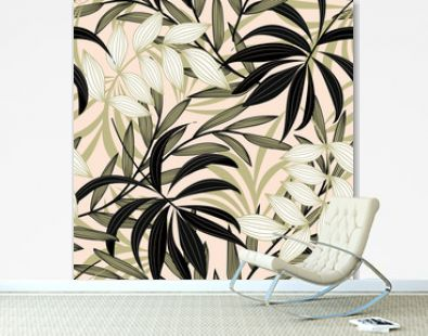 Trend abstract seamless pattern with colorful tropical leaves and plants on a delicate background. Vector design. Jungle print. Flowers background. Printing and textiles. Exotic tropics. Fresh design.