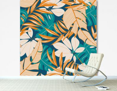 Abstract seamless pattern with colorful tropical leaves and flowers on a pastel background. Vector design. Jungle print. Floral background. Printing and textiles. Exotic tropics. Summer design.