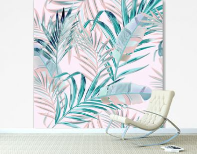 Fashion vector floral pattern with tropical palm leaves